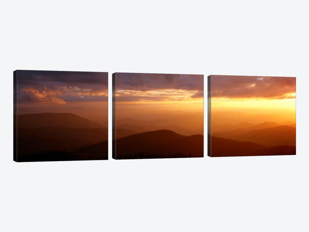 MountainsSunset, Blue Ridge Parkway, Great Smoky Mountains, North Carolina, USA by Panoramic Images 3-piece Canvas Art Print