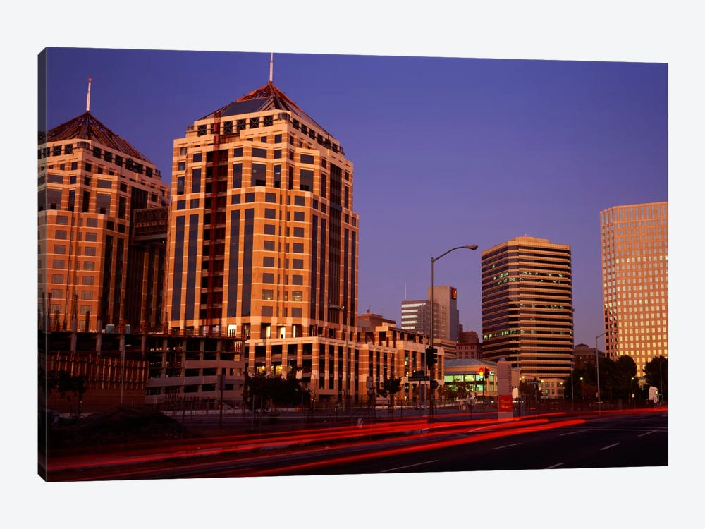 USA, California, Oakland, Alameda County, New City Center, Buildings lit up at night 1-piece Canvas Art