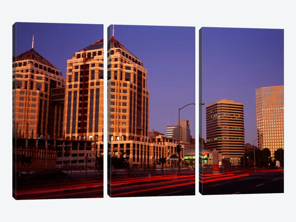 USA, California, Oakland, Alameda County, New City Center, Buildings lit up at night by Panoramic Images 3-piece Canvas Wall Art