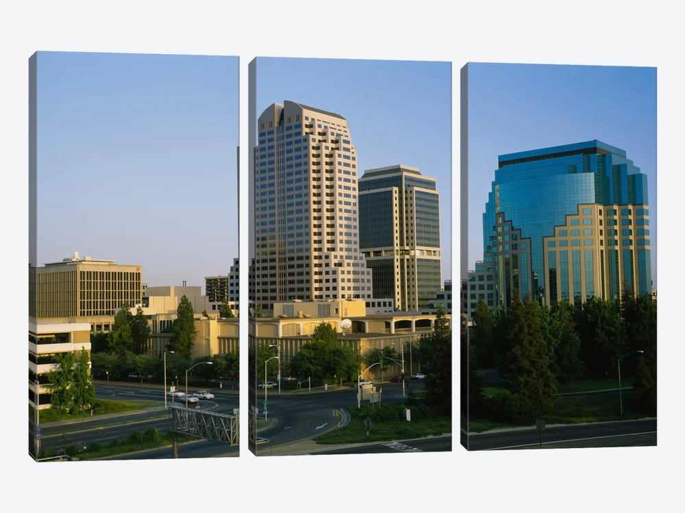 Skyscrapers in a city, Sacramento, California, USA by Panoramic Images 3-piece Canvas Print