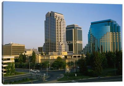 Skyscrapers in a city, Sacramento, California, USA Canvas Art Print