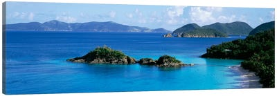 US Virgin Islands, St. John, Trunk Bay, Rock formation in the sea Canvas Art Print
