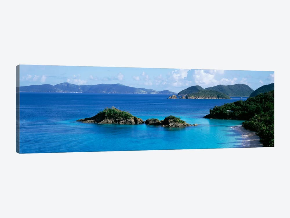 US Virgin Islands, St. John, Trunk Bay, Rock formation in the sea by Panoramic Images 1-piece Canvas Print