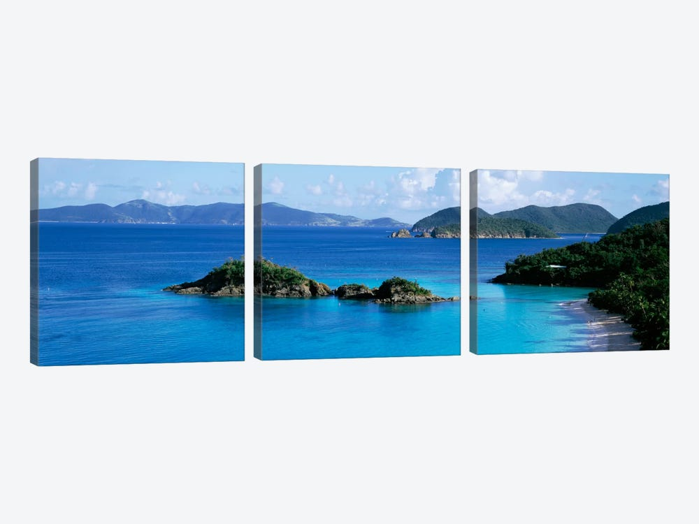 US Virgin Islands, St. John, Trunk Bay, Rock formation in the sea by Panoramic Images 3-piece Canvas Art Print