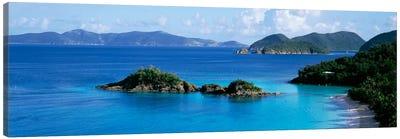 US Virgin Islands, St. John, Trunk Bay, Rock formation in the sea Canvas Art Print
