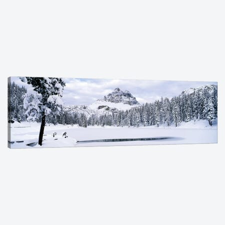 Trees along a frozen lake, Lake Antorno, Tre Cime Di Lavaredo, Dolomites, Cadore, Province of Belluno, Veneto, Italy Canvas Print #PIM7082} by Panoramic Images Canvas Art Print