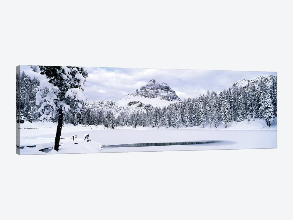 Trees along a frozen lake, Lake Antorno, Tre Cime Di Lavaredo, Dolomites, Cadore, Province of Belluno, Veneto, Italy by Panoramic Images 1-piece Canvas Art