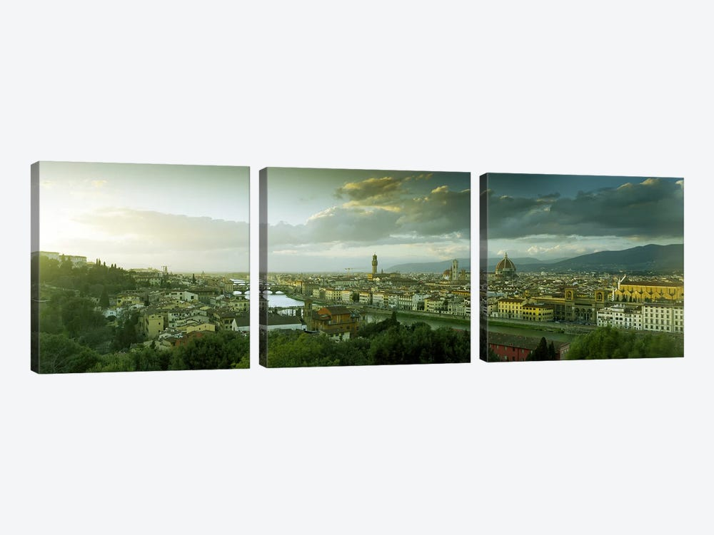 Aerial View Of Florence From Piazzale Michelangelo, Tuscany, Italy by Panoramic Images 3-piece Canvas Art