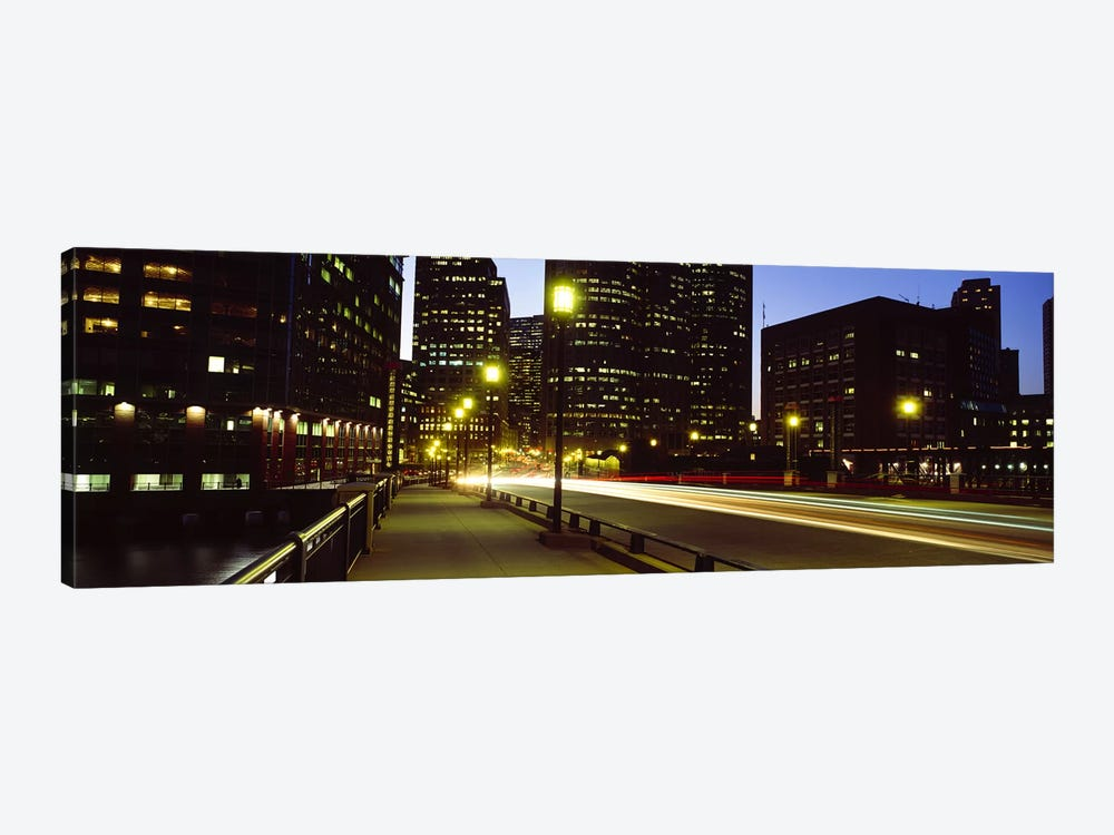 Traffic on a bridge in a city, Northern Avenue Bridge, Boston, Suffolk County, Massachusetts, USA by Panoramic Images 1-piece Canvas Wall Art