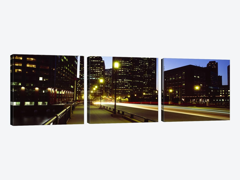 Traffic on a bridge in a city, Northern Avenue Bridge, Boston, Suffolk County, Massachusetts, USA by Panoramic Images 3-piece Canvas Art