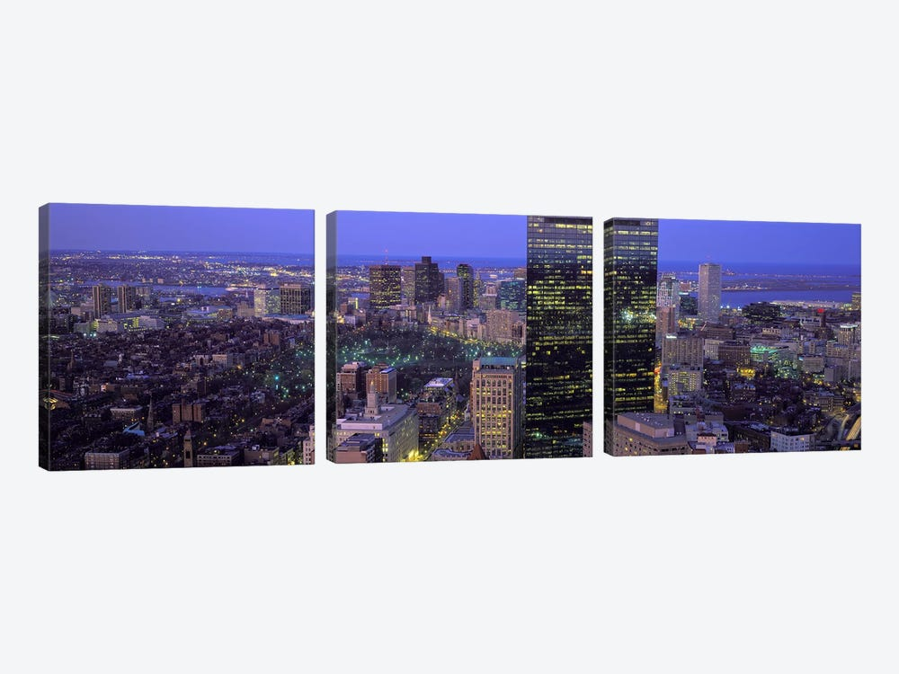 Aerial view of a city, Boston, Suffolk County, Massachusetts, USA by Panoramic Images 3-piece Canvas Art Print