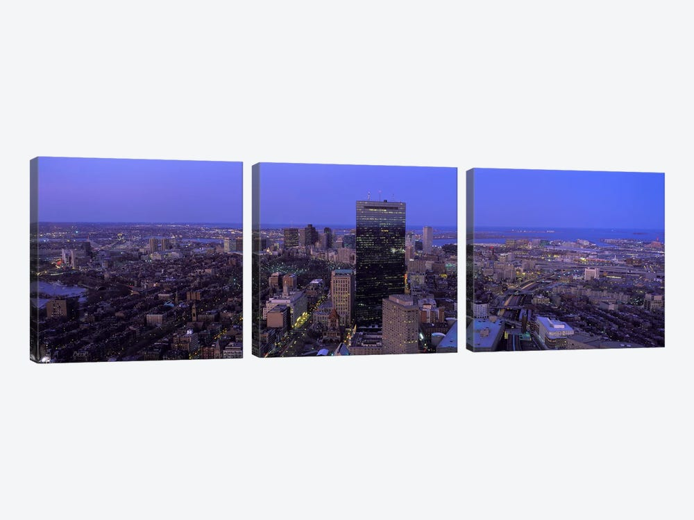 Aerial view of a city, Boston, Suffolk County, Massachusetts, USA #2 by Panoramic Images 3-piece Canvas Artwork
