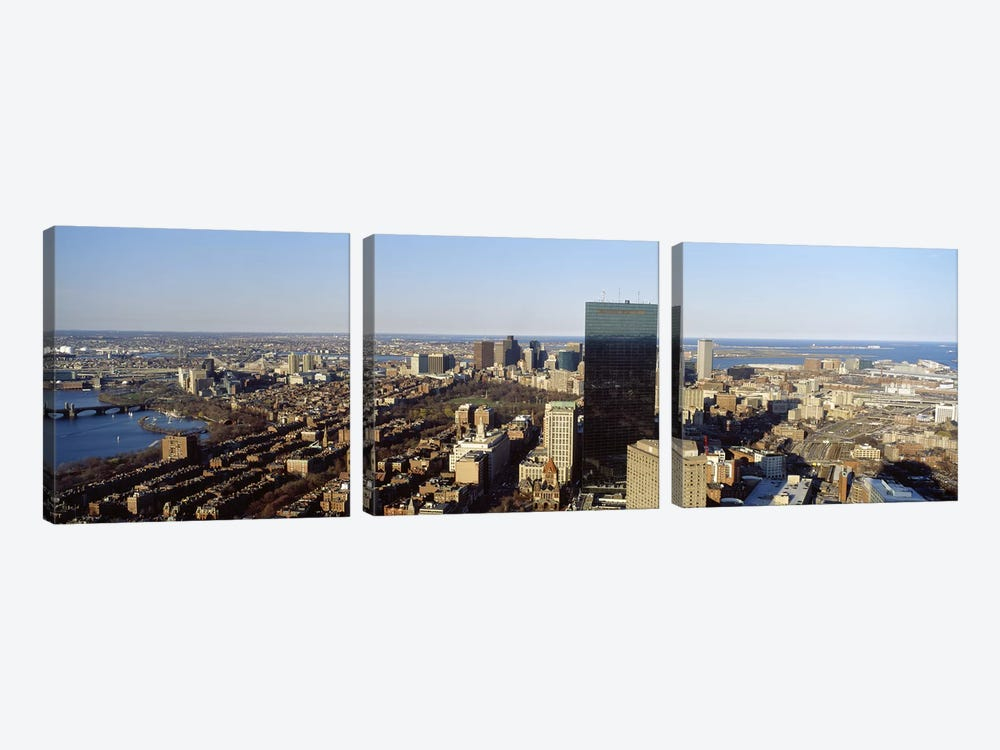 Aerial view of a city, Boston, Suffolk County, Massachusetts, USA #3 by Panoramic Images 3-piece Art Print
