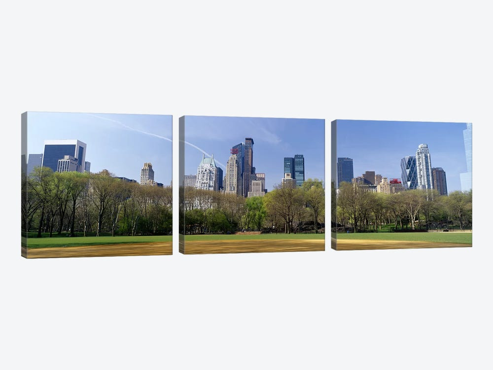 High-Angle View Of Architecture Along Central Park South, Midtown, Manhattan, New York City, New York, USA by Panoramic Images 3-piece Canvas Artwork