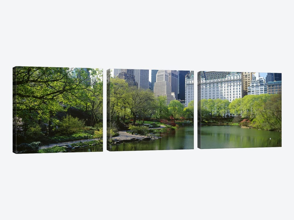 Pond in a park, Central Park South, Central Park, Manhattan, New York City, New York State, USA by Panoramic Images 3-piece Canvas Art Print