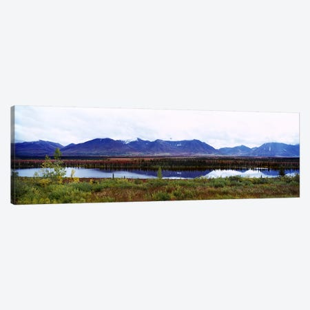 Lake with a mountain range in the background, Mt McKinley, Denali National Park, Anchorage, Alaska, USA Canvas Print #PIM7110} by Panoramic Images Art Print