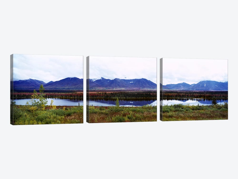 Lake with a mountain range in the background, Mt McKinley, Denali National Park, Anchorage, Alaska, USA by Panoramic Images 3-piece Canvas Artwork