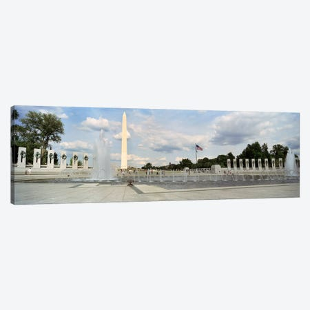 Fountains at a memorial, National World War II Memorial, Washington Monument, Washington DC, USA Canvas Print #PIM7113} by Panoramic Images Canvas Print
