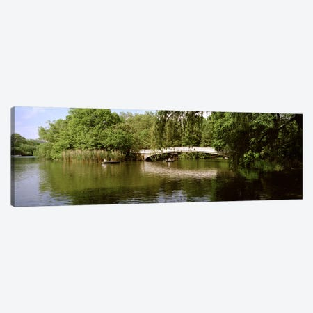 Bridge across a lake, Central Park, Manhattan, New York City, New York State, USA 3-Piece Canvas #PIM7114} by Panoramic Images Canvas Wall Art