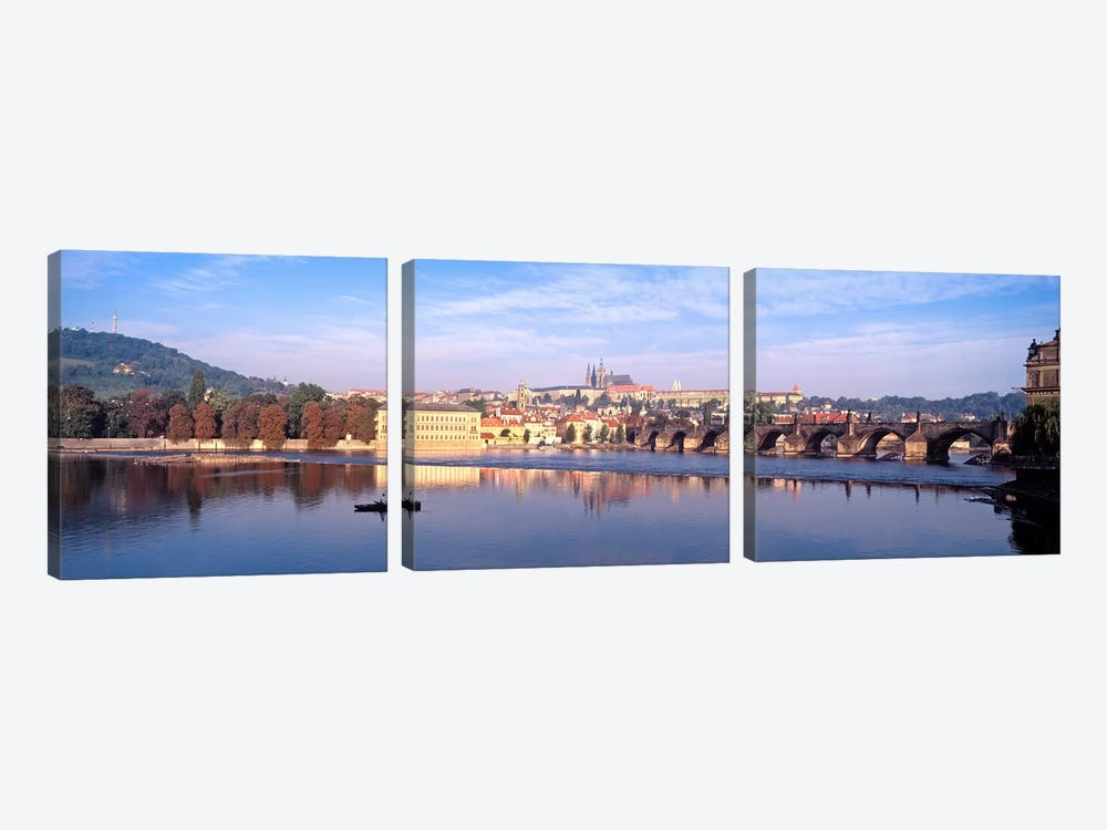 Arch bridge across a river, Charles Bridge, Hradcany Castle, St. Vitus Cathedral, Prague, Czech Republic #2 by Panoramic Images 3-piece Canvas Art