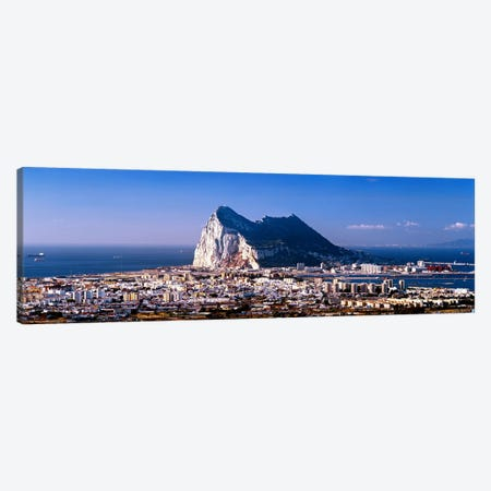 Rock Of Gibraltar With La Linea de la Concepcion In The Foreground, Iberian Peninsula Canvas Print #PIM7117} by Panoramic Images Canvas Artwork