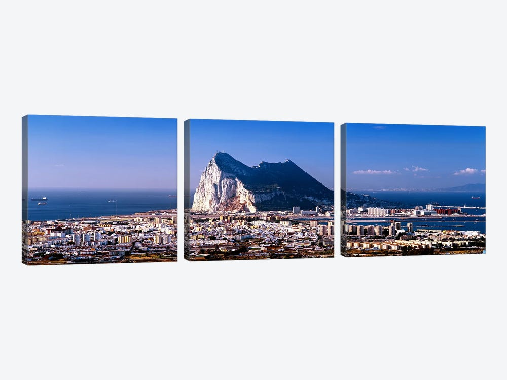 Rock Of Gibraltar With La Linea de la Concepcion In The Foreground, Iberian Peninsula by Panoramic Images 3-piece Art Print