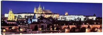 Arch bridge across a river, Charles Bridge, Hradcany Castle, St. Vitus Cathedral, Prague, Czech Republic #3 Canvas Art Print