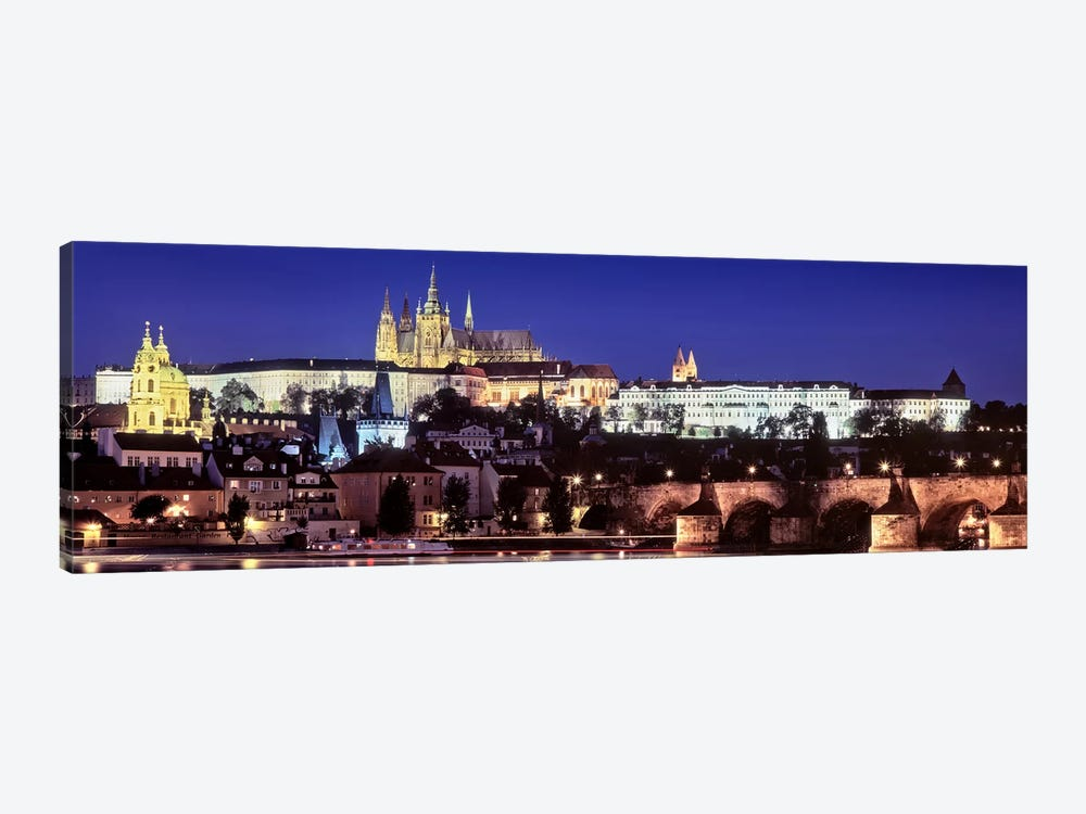Arch bridge across a river, Charles Bridge, Hradcany Castle, St. Vitus Cathedral, Prague, Czech Republic #3 by Panoramic Images 1-piece Canvas Wall Art