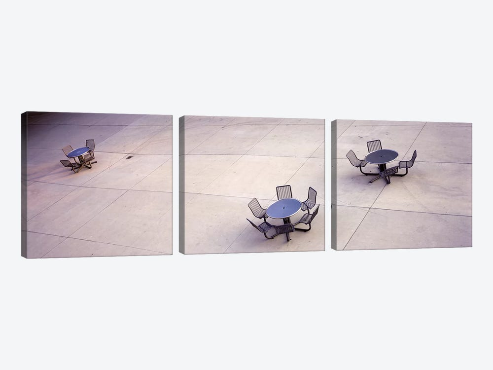 High angle view of tables & chairs in a parkSan Jose, California, USA by Panoramic Images 3-piece Art Print