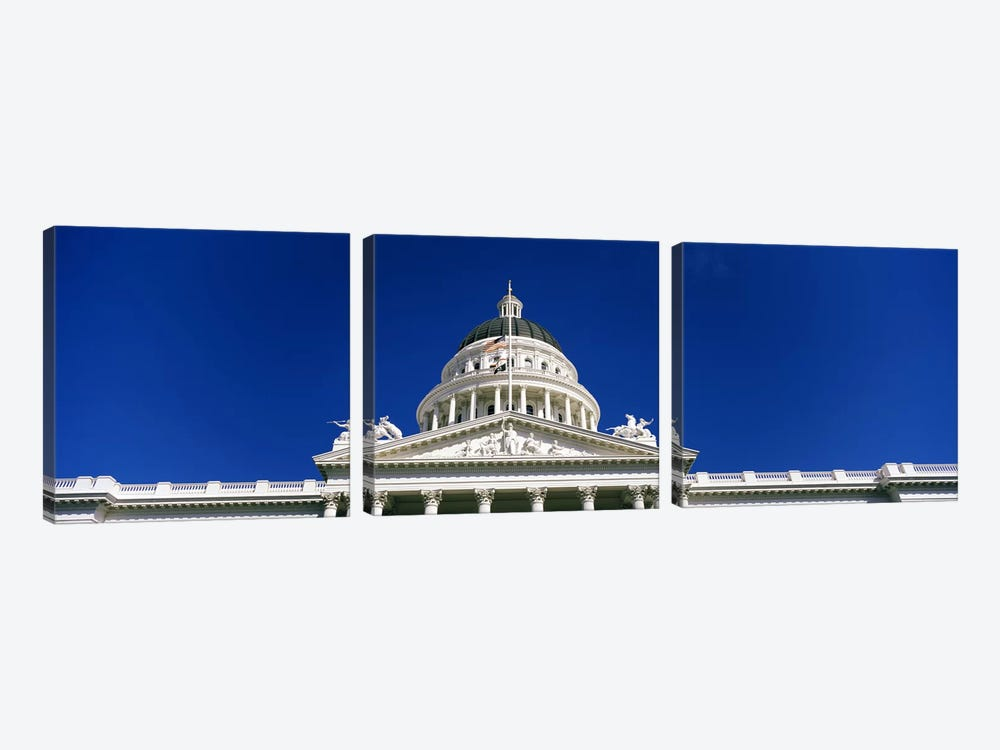 Low angle view of a government buildingCalifornia State Capitol Building, Sacramento, California, USA by Panoramic Images 3-piece Canvas Wall Art