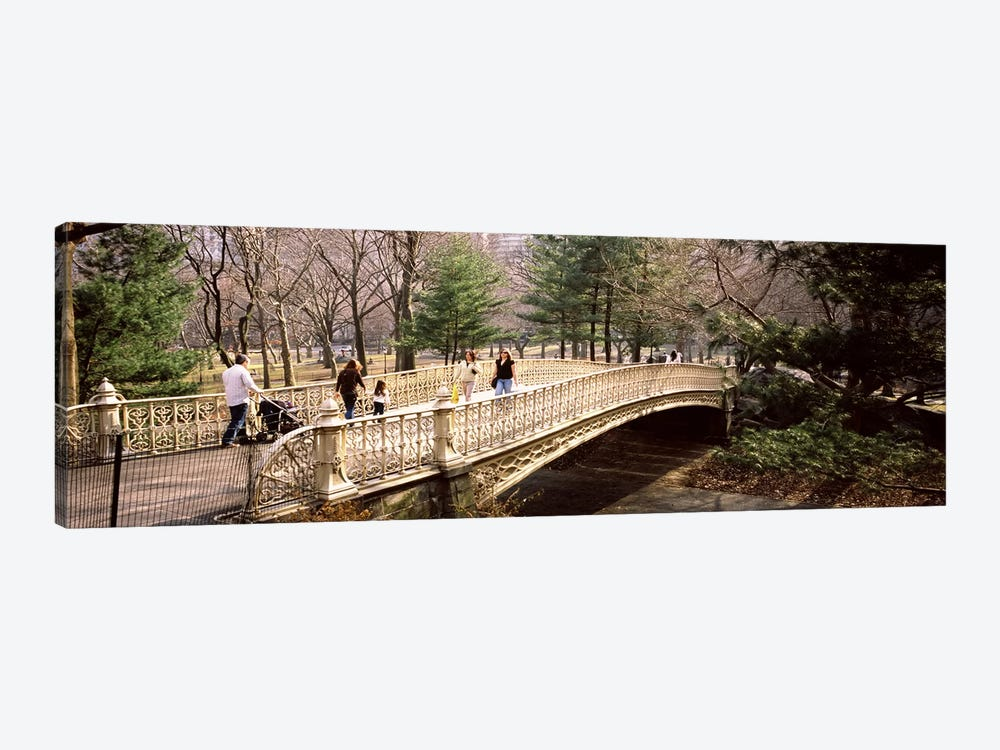 Group of people walking on an arch bridgeCentral Park, Manhattan, New York City, New York State, USA by Panoramic Images 1-piece Canvas Art