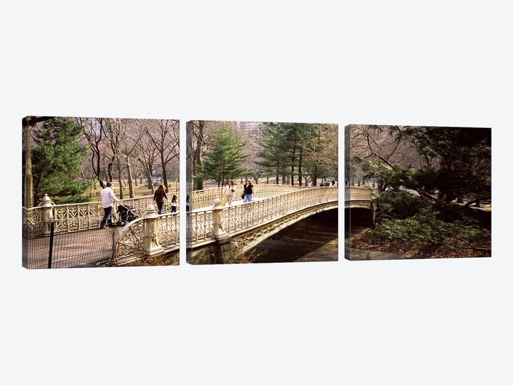 Group of people walking on an arch bridgeCentral Park, Manhattan, New York City, New York State, USA by Panoramic Images 3-piece Canvas Artwork