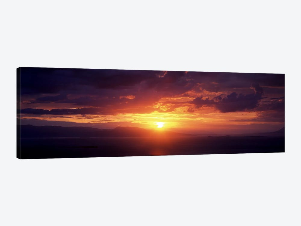 Sunset over the seaAegina, Saronic Gulf Islands, Attica, Greece by Panoramic Images 1-piece Canvas Wall Art