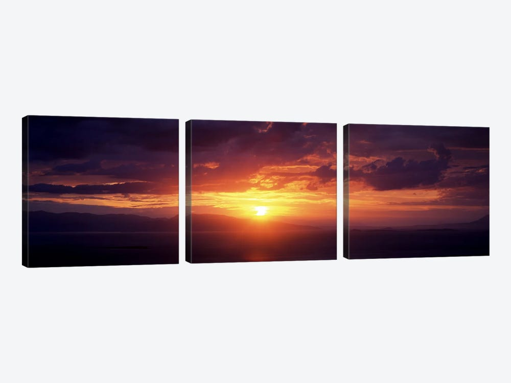 Sunset over the seaAegina, Saronic Gulf Islands, Attica, Greece by Panoramic Images 3-piece Canvas Artwork