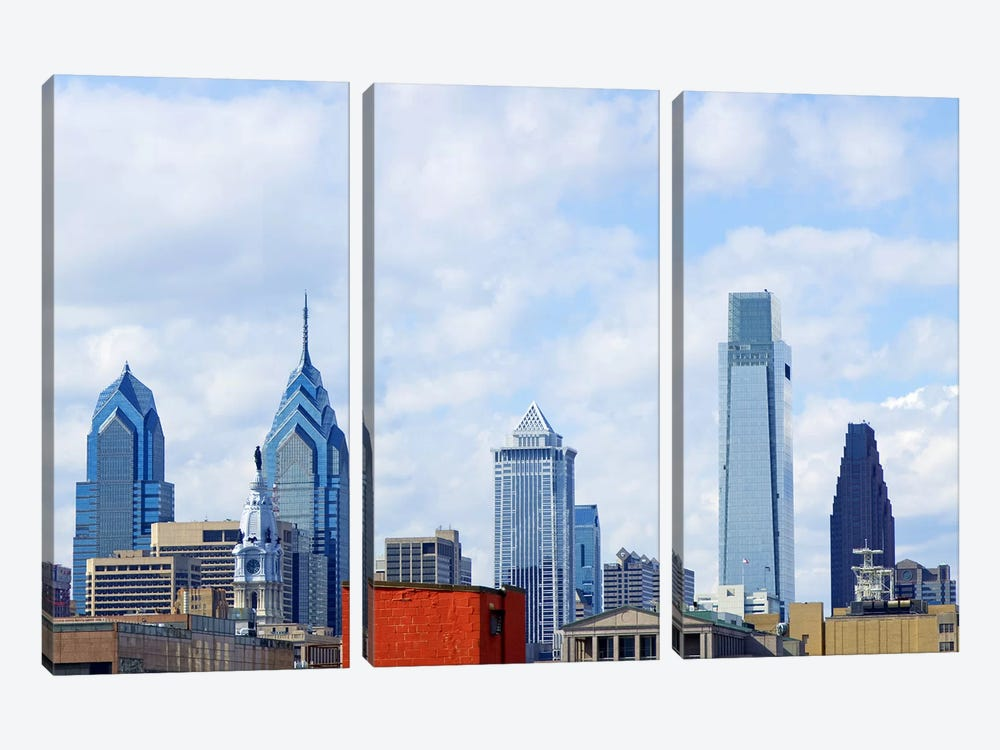 Buildings in a city, Comcast Center, Center City, Philadelphia, Philadelphia County, Pennsylvania, USA by Panoramic Images 3-piece Canvas Artwork