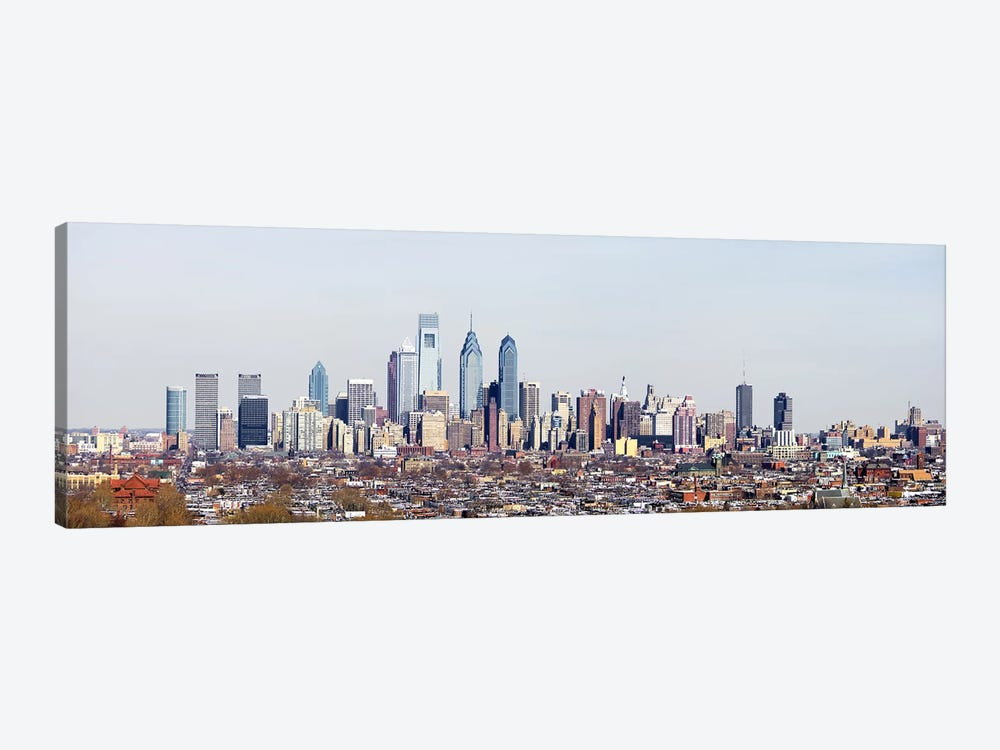 Buildings in a cityComcast Center, City Hall, William Penn Statue, Philadelphia, Philadelphia County, Pennsylvania, USA by Panoramic Images 1-piece Canvas Wall Art