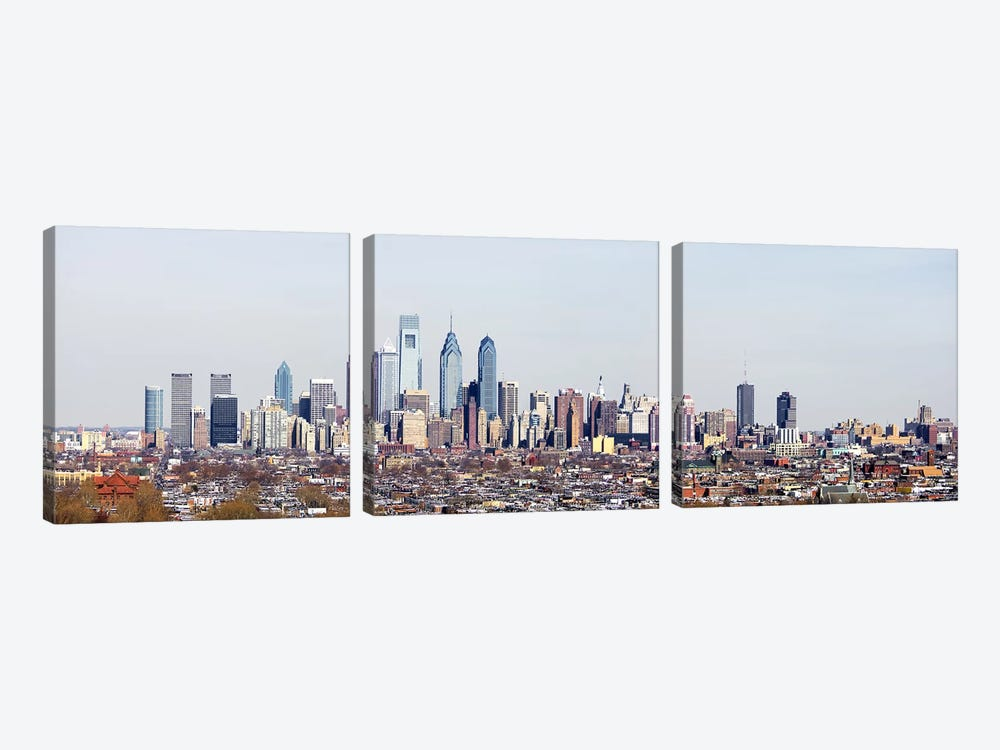 Buildings in a cityComcast Center, City Hall, William Penn Statue, Philadelphia, Philadelphia County, Pennsylvania, USA by Panoramic Images 3-piece Canvas Art