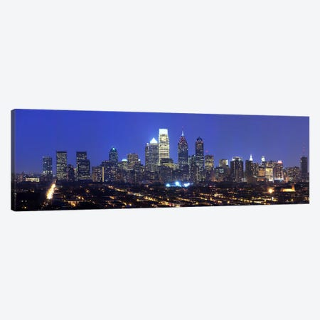 Buildings lit up at night in a cityComcast Center, Center City, Philadelphia, Philadelphia County, Pennsylvania, USA Canvas Print #PIM7138} by Panoramic Images Canvas Print