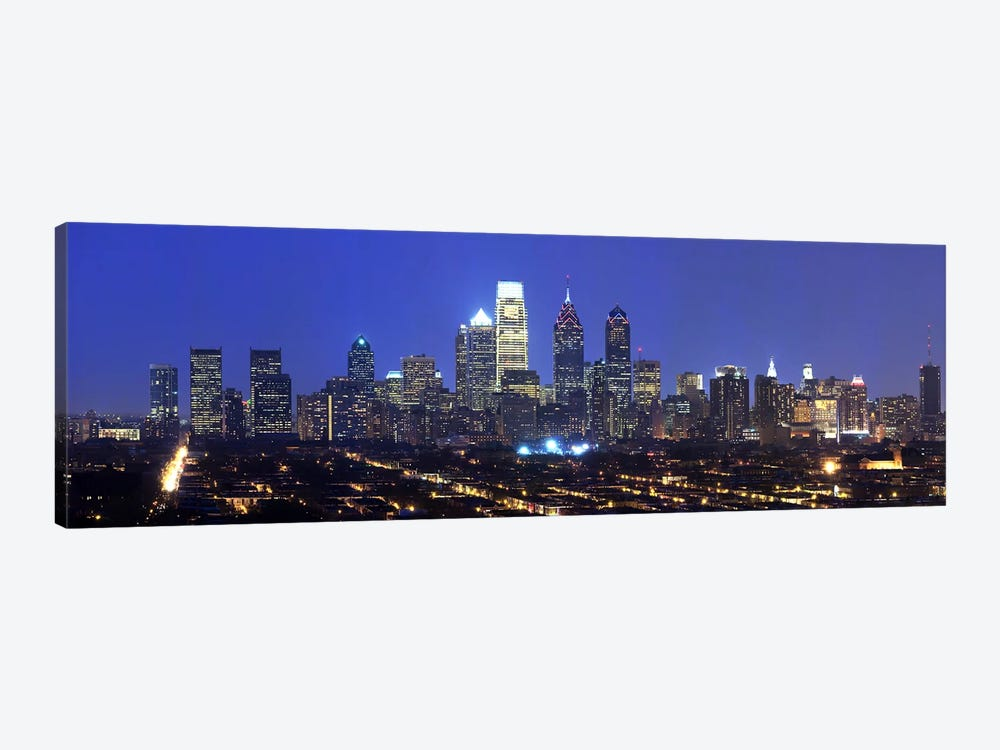 Buildings lit up at night in a cityComcast Center, Center City, Philadelphia, Philadelphia County, Pennsylvania, USA by Panoramic Images 1-piece Canvas Artwork