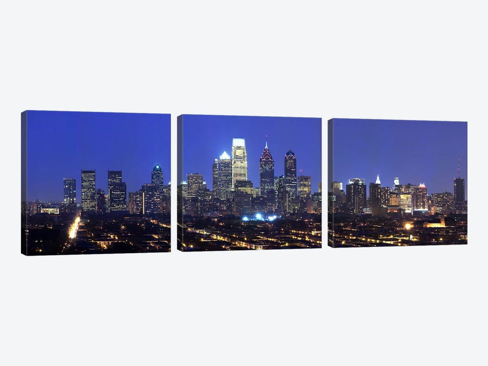 Buildings lit up at night in a cityComcast Center, Center City, Philadelphia, Philadelphia County, Pennsylvania, USA 3-piece Canvas Artwork
