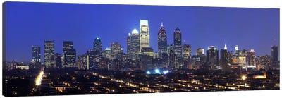 Buildings lit up at night in a cityComcast Center, Center City, Philadelphia, Philadelphia County, Pennsylvania, USA Canvas Art Print