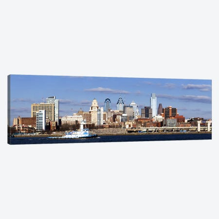 Buildings at the waterfront, Delaware River, Philadelphia, Philadelphia County, Pennsylvania, USA Canvas Print #PIM7139} by Panoramic Images Art Print