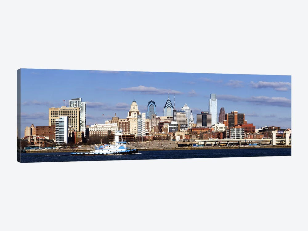 Buildings at the waterfront, Delaware River, Philadelphia, Philadelphia County, Pennsylvania, USA by Panoramic Images 1-piece Canvas Art Print