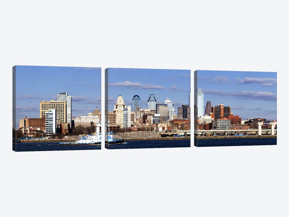 Buildings at the waterfront, Delaware River, Philadelphia, Philadelphia County, Pennsylvania, USA by Panoramic Images 3-piece Canvas Print