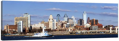 Buildings at the waterfront, Delaware River, Philadelphia, Philadelphia County, Pennsylvania, USA Canvas Art Print