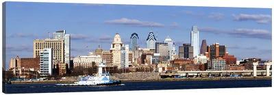Buildings at the waterfront, Delaware River, Philadelphia, Philadelphia County, Pennsylvania, USA Canvas Art Print
