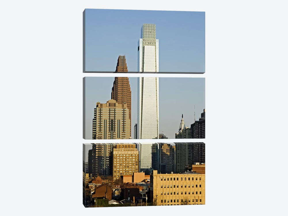 Comcast Center, City Hall, William Penn Statue, Center City, Philadelphia, Philadelphia County, Pennsylvania, USA by Panoramic Images 3-piece Canvas Print