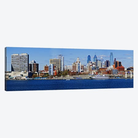 Buildings at the waterfront, Delaware River, Philadelphia, Philadelphia County, Pennsylvania, USA Canvas Print #PIM7142} by Panoramic Images Canvas Wall Art