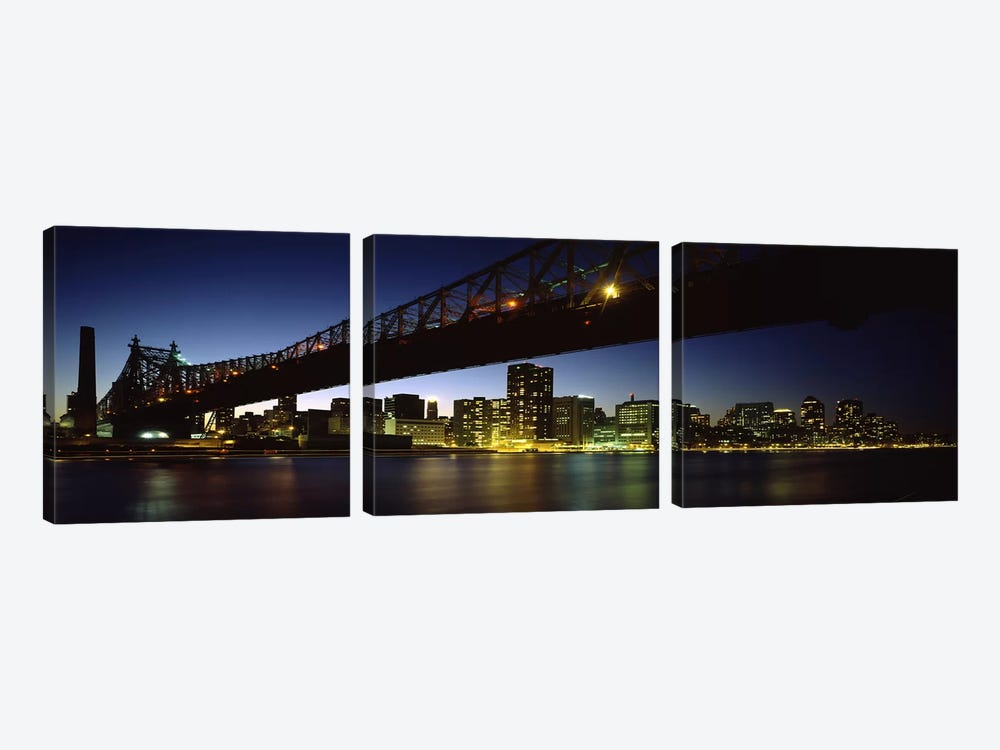 Bridge across a riverQueensboro Bridge, East River, Manhattan, New York City, New York State, USA by Panoramic Images 3-piece Canvas Artwork