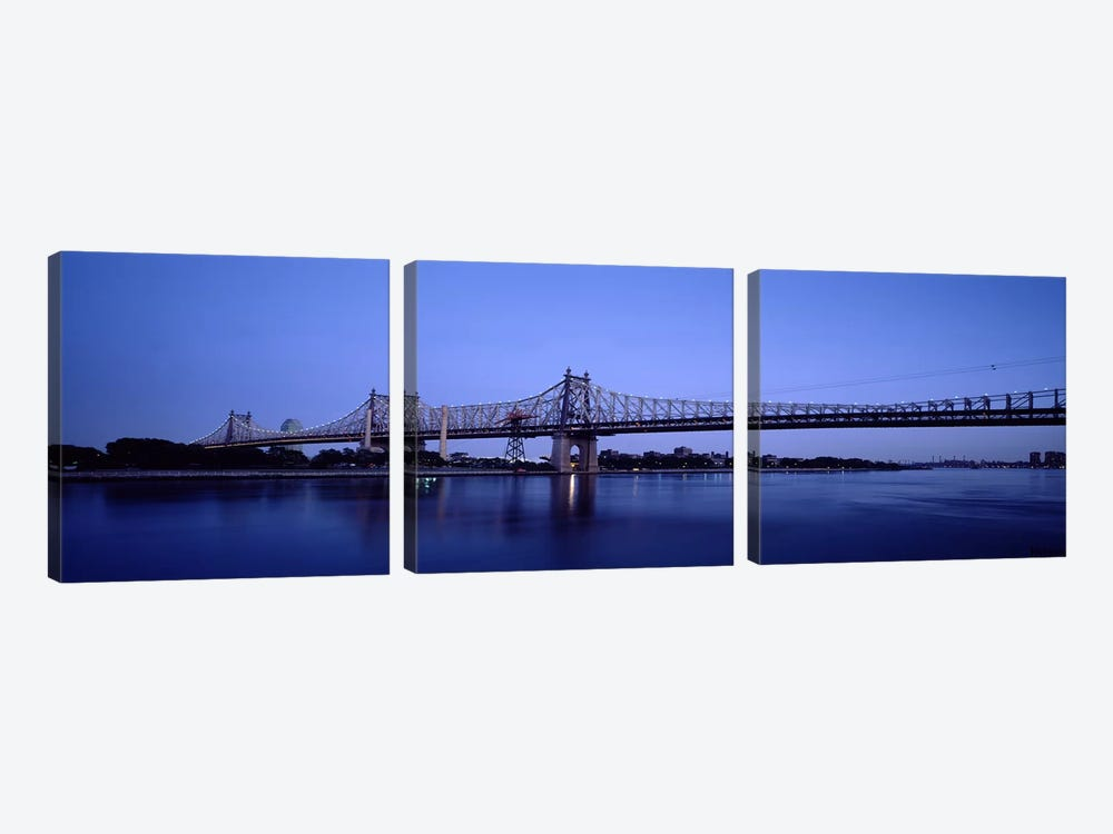Bridge across a river, Queensboro Bridge, East River, Manhattan, New York City, New York State, USA #2 by Panoramic Images 3-piece Art Print